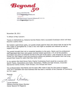 Gold Buying Reference Letter - Sunrise Rotary