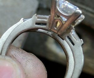 Corroded Gold and Diamond Solitaire Ring